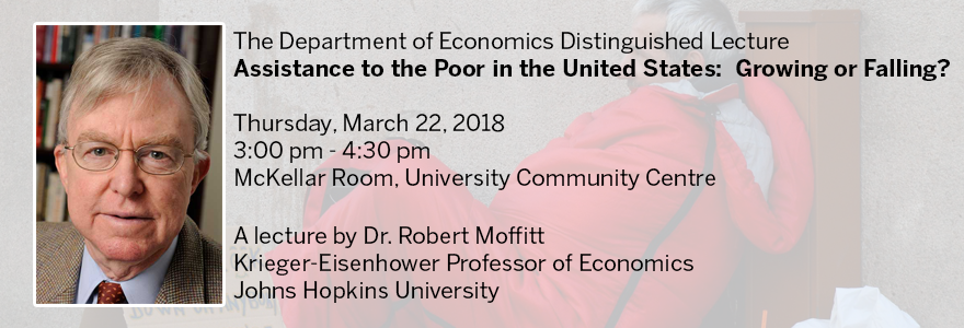 Robert Moffitt will deliver the Department of Economics Distinguished Lecture