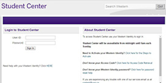 Student Centre login at Western University